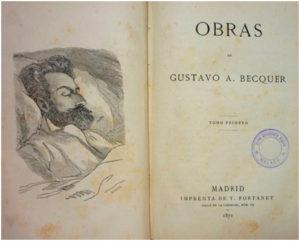 Primera edición de sus Obras (1871), con dibujo de Vicente Palmaroli y grabado por Severini